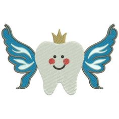 Tooth Crown with Wings Filled Machine Embroidery Digitized Design Pattern #embroidery  #machine embroidery  #applique  #digitized #needlework  #sew  #patterns #tooth #crown #wings