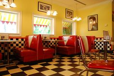 "Here is the inside of ""Scoops"" a casual dining place on the resort. The inside is made to look like a diner. Vintage Diner, Retro Diner, 1950s Diner, Vintage Kitchen, American Diner, Oldschool, Soda Fountain, Yellow Walls, Interior And Exterior"