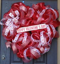 XL Valentine Heart Shaped Deco Mesh Wreath. $114.97, via Etsy.