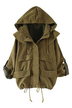 Drawstring Army Green Hoodied Coat