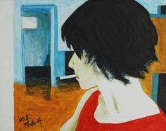 The Krasnals: Tanie Sasnale z Chin, Girl smoking (Anka), 2008, canvas print, acrylic, 50 x 40 cm