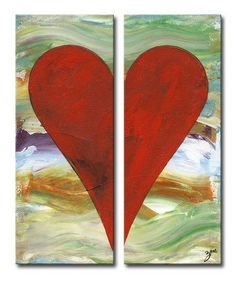 "Zane Heartwork ""John"" 2 Piece Painting Print on Wrapped Canvas Set (Set of 2)"