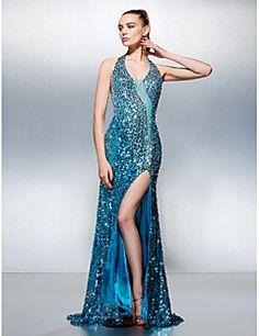 Fourreau / Colonne Licou Traîne Tribunal Pailleté Promo Robe avec Billes par TS Couture®