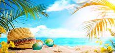 Beach summer palm leaves,straw hat,Beach background