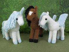 Horse, Unicorn and Pegasus - THREE amigurumi crochet patterns : PlanetJune Shop, cute and realistic crochet patterns & Crochet Horse, Crochet Animals, Crochet Patterns Amigurumi, Knitting Patterns, Crotchet Patterns, Free Crochet, Knit Crochet, Horse Pattern, Crochet Instructions
