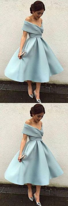 Elegant Knee Length Prom Dresses,Vintage Short Homecoming Dresses #homecoming #aline #elegant #prom #short #okdresses