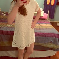 """White lace minidress This lace dress is adorable and NWT! I ordered it from an online retailer based out of China and it was just too short. I'm 5' 3"""", so this either needs to be worn as a tunic or its for a shortie! Or....you can just wear it short ;) I needed something to wear to a shower so it wasn't going to work. Nothing wrong with it! Probably needs a slip under it as well. Dresses Mini"""