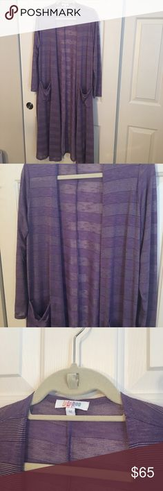 Lularoe Sarah cardigan purple M Beautiful Lularoe Sarah cardigan purple on purple stripe. Soft and lightweight. Size medium, worn once! LuLaRoe Sweaters Cardigans