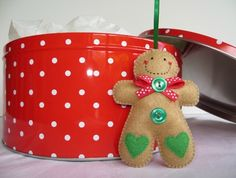 felt ornaments | Small Felt Green Hearts Gingerbread Man Ornament | Felt
