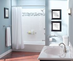 MOEN's dual-function grab bars are multi-purpose acting as grap bars and also paper holders towel bars and shower baskets. Can you spot the 3 grab bars in this bathroom? Home Depot, Bathroom Safety, Grab Bars, Small Bathroom, Bathroom Ideas, Bathroom Updates, Master Bathroom, Ada Bathroom, Paint Bathroom