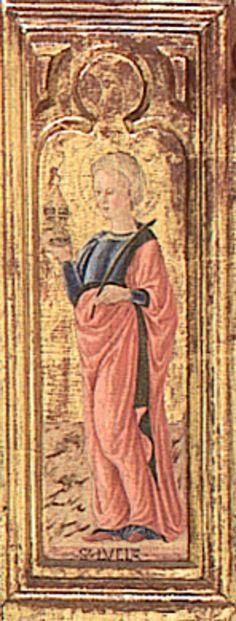 """Giovanni Boccati da Camerino - Santa Lucia, dettaglio """"Pala di  Belforte"""" - 1468  - Chiesa di Sant'Eustachio, Belforte del Chienti (Macerata nelle Marche)"""