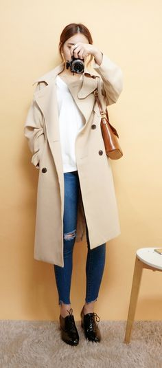 Korean fashion - white tip, jeans, brown trench coat, brown bag and black shoes
