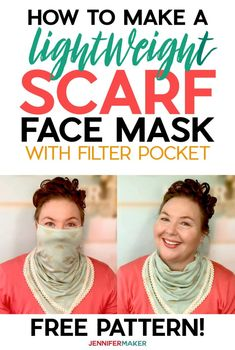 Make a Pretty Scarf Face Mask with a Free Pattern and Tutorial #sewing #facemask #scarf Easy Face Masks, Diy Face Mask, Face Masks For Kids, How To Make Scarf, Simple Face, Easy Sewing Patterns, Pattern Sewing, Tunic Pattern, Skirt Patterns