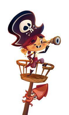 on Behance Kids Cartoon Characters, Cartoon Kids, Girl Cartoon, Cartoon Art, Pirate Illustration, Children's Book Illustration, Character Illustration, Pirate Kids, Pirate Art