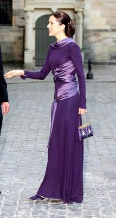Crown Princess Mary of Denmark and Alexander McQueen Fall 2005 Longsleeve Gown
