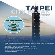 3 DAYS TAIPEI CITY BREAK (Land Arrangement Only) Minimum of 2 persons  For more inquiries please call: Landline: (+63 2)282-6848 Mobile: (+63) 918-238-9506 or Email us: info@travelph.com #Taipei #Taiwan #TravelPH #TravelWithNoWorries Hotel Breakfast, Taipei Taiwan, Round Trip, City Break, Tours, Day