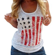 OVERMAL New Women T-shirt US Flag Print sleeveless O-Neck Loose Shirt Women Tops and Tee Cute Pullover Female T-shirts