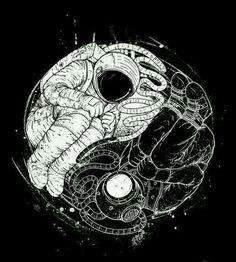 Yin e yang Ying Yang, Yin And Yang, Yin Yang Art, Astronaut Tattoo, Space Illustration, Art Graphique, Deviantart, Art Drawings, Drawing Art