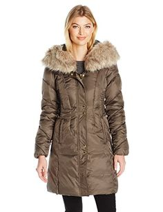 1896c966d8e86 Via Spiga Womens Ff Trimmed Exaggerated Hood Cinched Waist Puffer Pecan  Shell Medium    See