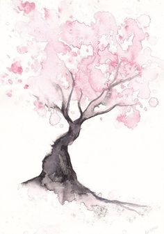 Cherry Blossom Tree Print Watercolor Painting Print Spring Tree Gift Bedroom Decor Wall Art Cherry Blossom Decor Home Wall Decor Aquarell Wasserfarben Cherry Blossom Decor, Blossom Trees, Cherry Blossoms, Watercolor Walls, Watercolor Trees, Watercolor Tattoo, Watercolor Animals, Watercolor Background, Simple Watercolor Paintings