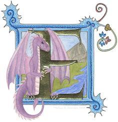 Cute dragon wrapped around illuminated letter E. http://ketubahworks.com/wp-content/uploads/2009/10/dragonE-600px-orig.jpg