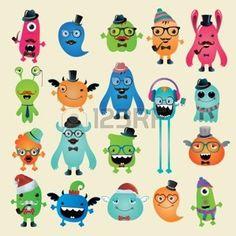cartoon monster: Freaky Hipster Monsters Set, Funny Illustration.