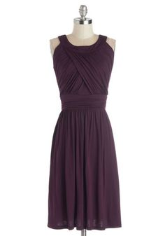 So Happy to Gather Dress in Plum - Purple, Solid, Ruching, Casual, A-line, Sleeveless, Good, Scoop, Jersey, Knit, Long