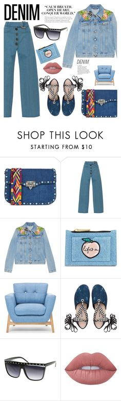 """""""All Denim: Head to Toe"""" by watereverysunday ❤ liked on Polyvore featuring Valentino, Rejina Pyo, Gucci, Skinnydip, Miu Miu, Lime Crime and alldenim"""