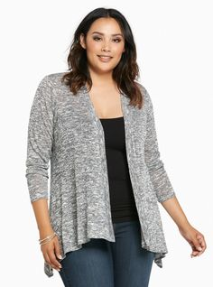 """We're kind of sort of really, really excited for the weather to cool off...mostly, so we can sport this sweater! A lightweight grey and white hacci knit (ideal for a chilly night) is buttery-soft, and crazy easy to throw on with a draped open front and long sleeves.<div><br></div><div><b>Model is 5'10"""", size 1<br></b><div><ul><li style=""""LIST-STYLE-POSITION: outside !important; LIST-STYLE-TYPE:..."""