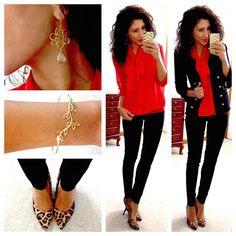 Red bow blouse  Black Tweed blazer  Skinny Dress Pants  Leopard print pumps  Gold leaf bracelet Drop earrings