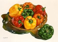 Joyce K. Jensen  | WATERCOLOR | Peppers in a Basket