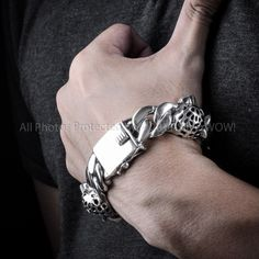 925 Sterling Mens Silver Leopard Head Bracelet