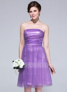 Bridesmaid Dresses - $89.99 - A-Line/Princess Strapless Knee-Length Tulle Charmeuse Bridesmaid Dress With Ruffle (007037278) http://jjshouse.com/A-Line-Princess-Strapless-Knee-Length-Tulle-Charmeuse-Bridesmaid-Dress-With-Ruffle-007037278-g37278?snsref=pt&utm_content=pt