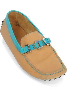 Tod's Shoes - Tan and Turquoise Leather Driving Loafers. Our Price: $144.95
