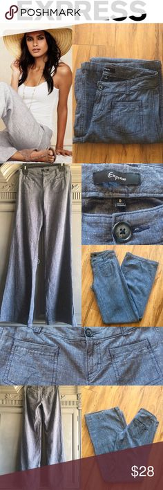 ⚜️EXPRESS LINEN PANTS⚜️ EXPRESS Size 0 Women's Flat Front Blue LINEN BLEND Nautical Style Pants.  Wide Leg 55%Linen/45% Cotton. Perfect for Spring & Summer. Loved wearing sailing or beach'n. One of My fav pants!! Sadly they don't fit anymore. Express Pants Wide Leg