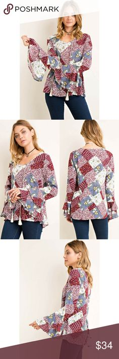 """Printed Quilt Ruffled Sleeve Top Quilt like print ruffled sleeve top featuring v-neck with tassel detail.    100% Rayon.     Size: S-M-L.   Length: 25""""-25 1/2""""-26"""".      Chest: 37""""-38""""-39"""".   Color: Wine Classic Paper Doll Tops Blouses"""