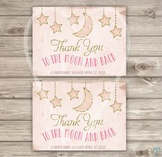 Thank You Cards Twinkle Twinkle Little Star Theme Baby Shower Foldable Card Pink Gold Glitter Girl Party girl First Birthday pdf jpeg
