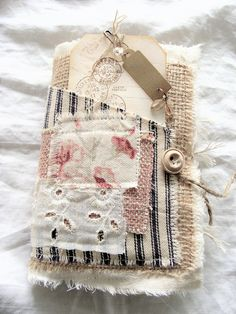 Fabric and Lace Journal, Vintage Junk Journal, Rustic Smash Book, Mixed Media Art Book, Shabby Journal, Altered, Tattered by ShabbySoul on Etsy