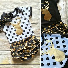 Deer Baby Gold and Polka Dot Set