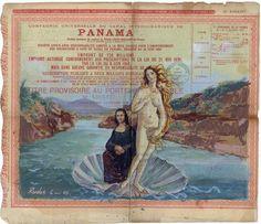 """""""Mona Lisa con la Venus de Botticelli cruzando el Canal de Panamá por Pascual Rudas"""""""