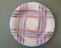 Vintage Platter, Vernonware, Vintage Plate, Large Plate, Plaid Pattern, Vernonware Calico Pattern, Pink & Blue, Ceramic Platter, 1950s Plate