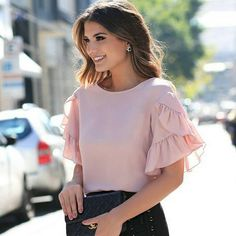 Women Ruffle Short Sleeve Loose Chiffon Shirts Fashion OL Ladies Summer Crew Neck Solid Casual Blouse Tops Shirt New, Pink / XL Casual Tops For Women, Blouses For Women, Blouse Styles, Blouse Designs, Sleeves Designs For Dresses, Moda Chic, Ruffle Shorts, Chiffon Shirt, Fashion Outfits