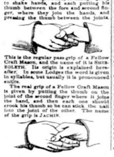 """The tell tale sign of a masonic handshake is when one person places his thumb on the other person's knuckle. This is a very peculiar way to shake hands."" - ""Ahayah Yashiya - The Truth Be Told!"