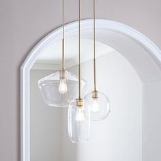Sculptural Glass Round Mixed Chandelier, S Globe,-m. by West Elm West Elm Chandelier, Chandelier In Living Room, 3 Light Chandelier, Dining Room Lighting, Glass Chandelier, Modern Chandelier, My Living Room, Home Lighting, Stairwell Chandelier