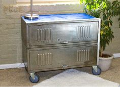 Image detail for -reclaimed vintage lockers repurposed into set of drawers - The . Repurposed Lockers, Vintage Lockers, Metal Lockers, Vintage Industrial Furniture, Metal Furniture, Repurposed Furniture, Diy Furniture, Locker Furniture, Furniture Outlet
