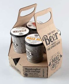 ReCraft Your Beer: Cardboard Carrier and Beer in Recyclable Paper Cups A big Champions League soccer match just wrapped on television and it's time to  head home from the Moscow-based Mug Pub, a soccer themed sports bar in that  brews its own beer. Before heading out into the cosmopolitan streets, however,  snag a few brews to go. Mug Pub and designer Ivan Maximov have come up with  packaging to make take out beer a much more inviting proposition. Areusableand  recyclable cardboa...