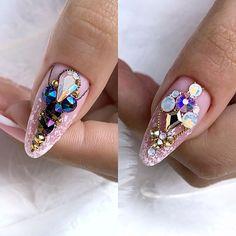 Acrylic Nail Art, 3d Nail Art, 3d Nails, Nail Arts, Art 3d, Young Nails, Rhinestone Nails, Gel Nail Designs, Nail Tutorials