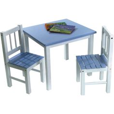 Childrens Blue and White Table and 2 Chair Set: $79.99 W/ FREE SHIPPING (List 120.00) at Meijer.com
