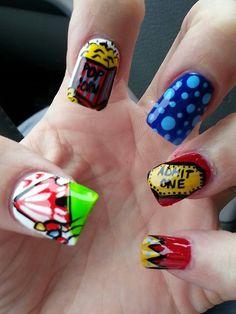 Carnival Nails/ admit one Circus Nails, Carnival Nails, Toe Designs, Ice Cream Candy, Manicure At Home, Great Nails, Fantasy Hair, Wild Hair, Stylish Nails