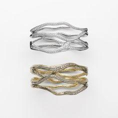 Bracciale in oro bianco e diamanti<br/> Bracciale oro giallo, rodio nero e diamanti